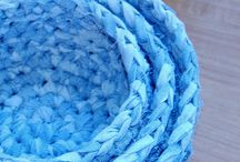 Fabric Strip Crocheted Baskets