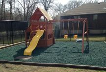 Playground Surfaces / We offer premium recycled rubber mulch and borders for your backyard playground. We can do the full assembly for you.