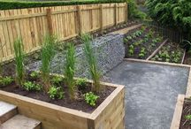 garden wall and plant troughs