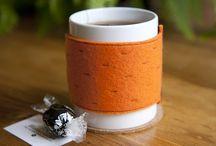 Felt shaped mug cosies with magnets / Felt