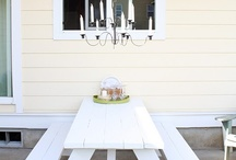 Porch / white picnic table / by Gayle Roger