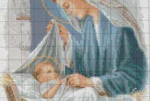 kresťanská výšivka panna mária a dieťa