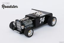 """'32 Ford Roadster / This  '32 Ford roadster is probably one of the most classic and iconic """"old school"""" Hot Rod around.  This Ford '32 Roadster with the body of a Ford Model B, released by the American manufacturer from 1932 to 1934, painted in total black.  The Roadster fits the V8 flathead with three carburettors and wheels are """"oversized"""" respect to the original  ones that were narrower (I didn't find LEGO wheels that fitted well, at least to me). I used few chromed parts that I think look great on the car."""