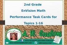 Performance Task Cards for 2012 Common Core EnVision Math / These are performance task cards that go with all units 1-16 for the Common Core EnVision Math program. Each task card includes an activity for students to work on that review each unit. There are around 5 task cards for each unit. The file is in Microsoft PowerPoint so it can be easily saved into other formats. The questions are pulled from the performance tasks at the end of each topic. / by A. W. Creations