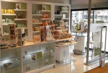 Perfume Display - Perfume cabinets -- Makeup counters- glass display - glass shelves / A selection of perfume cabinets - perfume counters- perfume glass cabinets - makeup counters - retail displays - perfume store interiors.
