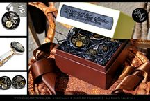 Men's Accessories - Steampunk Jewelry / The set includes: tie clip, cufflinks, pendant - keychain, sterling 925 silver chain. HANDMADE!!!