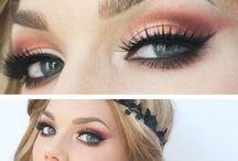 coral dress makeup