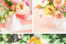 coral and yellow wedding