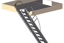 Revit Ladder and Stair Drawings / Revit Model Drawings for Vertical Roof Access Ladders and Attic Stairs and Attic Ladders, Ships Ladders, Industrial Stairs, Roof Hatches and Guard Rails.