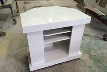 Custom made stone TV stands / We make TV stands to order. We put them on wheels for easy manouvring.