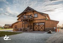 Michigan Hunting Cabin / This timber frame masterpiece lives in Dagget, Michigan. With 5 heavy duty garage doors for large vehicle storage and ample living space, this is any outdoorsman's home away from home.