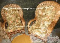 Conjunto de Cadeiras de Vime Natural para Varanda