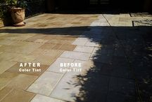 Tinting Stone Tile / Stone tile restoration and stone tile cleaning often involves tinting. When stone tile is pale, faded, and bleached out-looking, tint can be an important step in bringing back a fresh look.