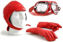 Halcyon leather box set / The box set includes a Halcyon Mark 49 leather goggle, a leather helmet handmade in the UK and a pair of gauntlets. Goggles come fitted with clear polycarbonate scratch resistant lenses as standard, with optional upgrades if required