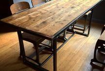 Wood steel table