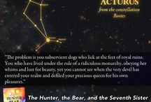 Characters from The Hunter, the Bear, and the Seventh Sister / Character quotes and their related constellations in the young adult fantasy novel.
