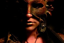 Sit behind the mask where you control your world / masks, hidden, eyes, face, shadow, covered, disguise, character, costume