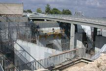 Yad Vashem en construcción / El Museo de la Historia del Holocausto, el Centro de visitantes y la Sala de los Nombres en construcción