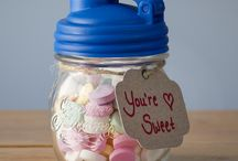 Love & Mason Jars / What's love got to do with Mason Jars?   For the smitten kittens, it's such a lovely way to gift sweets for your sweet.  And if you love someone and need to set them free, make the departure 'bitter-sweet' with sugary confections - all served up in a reusable, multi-purpose Mason jar!