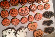 DIY halloween cookies!! / 1-premise cookie dough from store 2- halloween cookies cutters 3- either store bought  icing or home made icing 4- add food colouring to icing  5- use your imagination!! Lol