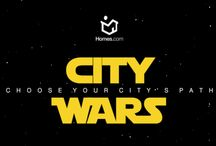 City Wars / In a country far far away, the forces of Light & Dark are amassing to fight an epic battle. You've been chosen for a mission of galactic proportions. Choose you must a city, and vote whether the city's path is one of Light or Dark. Determine the fate of cities you will. / by Homes.com