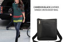 Cameron unisex black Italian leather Cross body bag