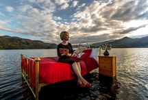 Bed on the Lake / The moment Sally's Cottages created a floating pop up bedroom on Derwentwater to promote the beauty of the Lake District.