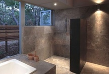 London Tile Centre / The dappled natural stone splashes of Travertine silver grey honed and filled tiles are classy and modern looking.