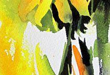 Aquarel fleurs jaune