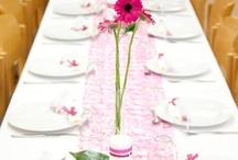 Hochzeitsdeko / Rosa/weiß