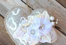 Corazones/estrellas de scrap / Corazones de tela perfumados decorados con scrap