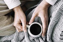 Comfy & Cozy / Slow living, coffee, tea, breakfast in bed, wool socks