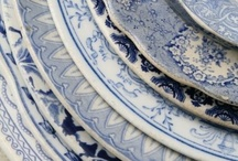 Blue~China~Diner~table / plates, cups, blue china, delft blue