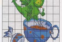 Haft krzyżykowy - Smoki, dinozaury