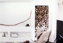 living room/fireplace/wood storage