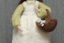 Needle felted standing dolls