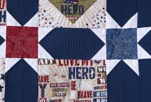 """Quilts of Valor / QT is a proud sponsor of the Quilts of Valor organization and more importantly, for the """"service members and veterans touched by war."""" This year's challenge featured the Be Strong Be Brave fabric collection by Home Front Girl™ for QT.  The quilts will be donated to the Quilts of Valor Foundation and there are $800 in cash awards for the winners! / by Quilting Treasures"""