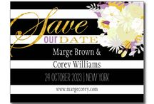Flowers & Stripes Wedding Collection / Colorful, elegant flowers with modern black & white wide stripes on stylish wedding stationery.