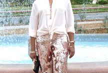 Rose Gold For the Holiday Season / Rose gold colored sequined pants and silk top!