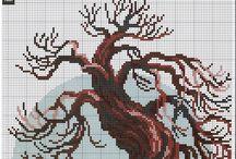 вышивка деревья,трава,листья..