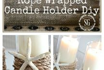 rope wrapped glasses and candle holders