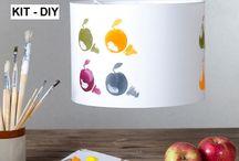 Manualidades: kit pantallas para lámparas / Kits para crear y personalizar pantallas para lámparas. Manualidades. DIY. Hazlo tu mismo. Materiales para pantallas. Hacer lamparas