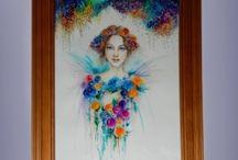 glass paintings / maľba na sklo,kombinovaná technika akvarel a sklomaľba