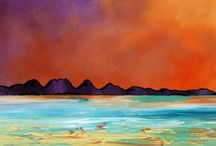 The Hebridean Isles of Jura, Ghigha and Barra, Scotland.  Paintings & Prints Gallery / Mixed media paintings of Scotland landscape in spray paint, acrylic and oil paint by Scottish artist A Peutherer More at www.scottishlandscapepainting.co.uk