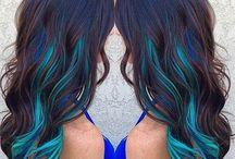 ombre Modré Vlasy