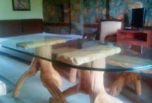 Τραπεζαρια οχτω ατομων απο ριζες κερασιας και παγκακι. / Cherry root dining table for 8 people