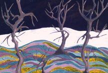 Tablou pictura abstracta 100x100 Padurea intunecata.