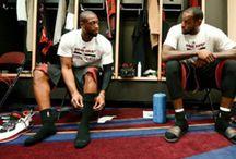 Lebron and TCK Socks / Lebron and D Wade chillin in the locker room wearing their TCK socks.