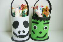 Cestitas o Dulceros Jack Skeleton y Frankenstein / Cestitas o dulceros terroríficas,hechas en Goma eva,para recoger chuches en Halloween