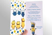 Invitatie de botez cu Minionii / Invitatie de botez la moda cu celebrele personaje din desenele animate cu minionii. #babyshower #minions #babyshowerinvitations